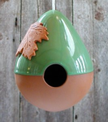 Tear Drop Terra Cotta Wild Bird House